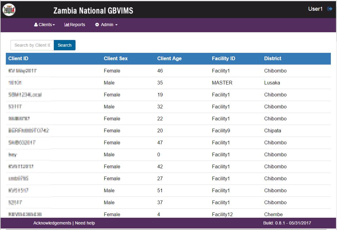 Zambia National GBVIMS Interface