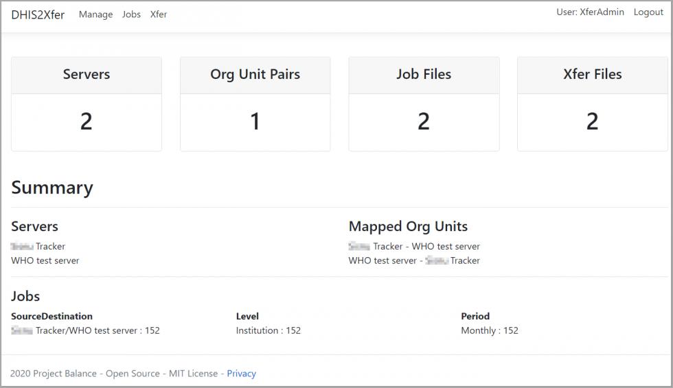 DHIS2Xfer Dashboard Screenshot